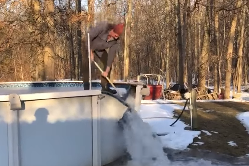 man rides ice